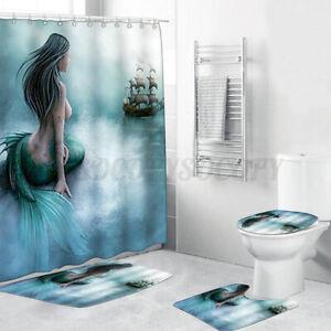4 Pcs Set Mermaid Modern Bathroom Shower Curtain & 3PCS Mat Set Toilet