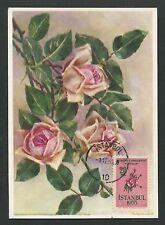 TÜRKEI MK 1955 FLORA BLUMEN ROSE ROSEN MAXIMUMKARTE MAXIMUM CARD MC CM d7767