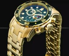 Invicta 18K GOLD Plated Men's 0075 PRO DIVER Scuba Chronograph Green Dial Watch