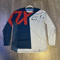 New Men Large Fox Racing Demo Version Jersey Long Sleeve Metallic Fox Head Logo