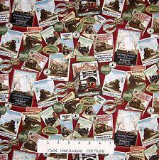 "Locomotion Fabric - Train Sign & Picture Collage Red - Benartex Bristol Bay 16"""