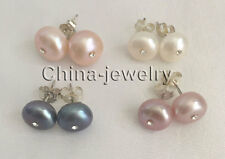 E7712 - wholesale 4pairs 9-11mm white pink purple freshwater pearl earring