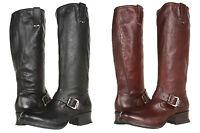 Frye Womens  Martina Engineer Tall Black or Brown Buckle Riding Motorcycle Boots