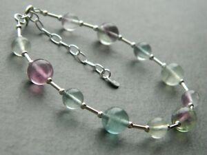 Natural Fluorite Crystal Gemstone Beads & 925 Sterling Silver Handmade Bracelet