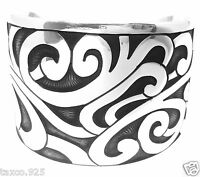 TAXCO MEXICAN 925 STERLING SILVER REGAL DECO FLORAL SCROLL CUFF BRACELET MEXICO