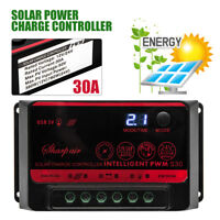 12V/24V 30A Adjustable Solar Panel Battery PWM Regulator Charge Controller LCD