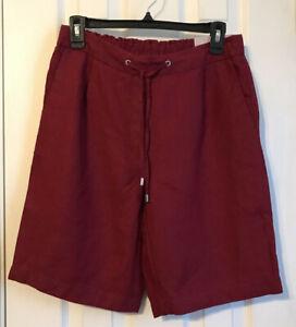 Chico's Deep Garnet Linen Tie-Front Shorts Size 00 (0/2-XS) NWT