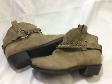 Stride Rite Ryley Sky Libra Distressed Brown Ankle Cowgirl Boots