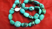 Gorgeous 20mm Turquoise Sterling Silver Bead Necklace
