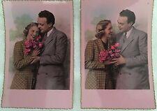 """2 cartes postales véritable photo bromure """"COUPLE """""""