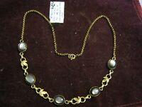 "VAN DELL 1/20 12K Yellow Gold Diamond Cut Leaves BLACK MOONSTONE 16"" Necklace"