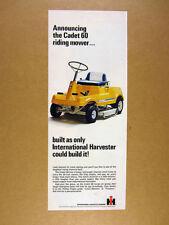 1968 IH International Harvester Cadet 60 Riding Mower photo vintage print Ad