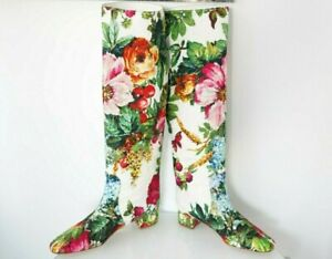 New D&G Dolce & Gabbana white tall Canvas Floral Print Shoes Boots Sz 40 10-US