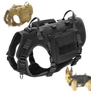 Military Dog Tactical Harness With Pouches MOLLE No Pull Vest Adjustable PITBULL