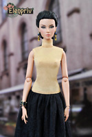 """ELENPRIV golden jersey poloneck top for Fashion Royalty FR:16 ITBE 16"""" dolls"""