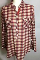 Kenar Women's Popover Plaid Button Roll Tab Long Sleeve Shirt Top, SIze M