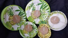 Outdoor Collection Melamine Pineapple Appetizer Salad Dinner Plate Bowl Set 24pc