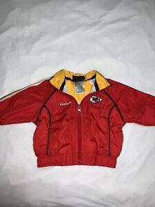 Vtg Reebok NFL Team Apparel Kansas City Chiefs Full Zip Jacket Baby 6-9m B34
