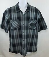 Harley Davidson Men's Black Gray Plaid Short Sleeve Button Up Shirt Size XL