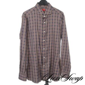 Isaia Napoli Made in Italy Greyed Blue Red Wheat Multi Plaid Dress Shirt 18 NR