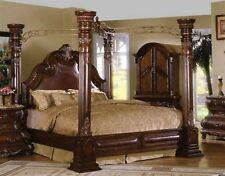 Caledonian Brown Cherry California King Poster Canopy Bed With Leather Accents