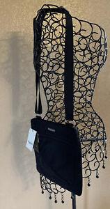 Baggallini Pocket Slim Crossbody Bag Purse Travel Organizer Black Nylon