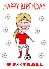 GIRLS LADIES WOMENS LOVE FOOTBALL RED OR BLUE BIRTHDAY CARD FREE POST 1ST CLASS