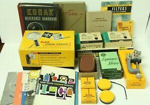 Vintage Kodak Camera Accessories Flash Holder Bulbs Manuals Brochures Clamp More