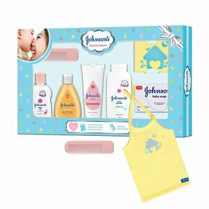 Johnson's Newborn Baby Care Gift Set With Organic Cotton Baby T-Shirt,7 Pieces