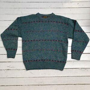 VTG EDDIE BAUER Green Blue Wool Sweater Jumper Pull Over Red Stripes M