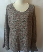 Lucky Brand Womens Top Size L Multicolor Muted Print Long Sleeve Bell Cuff