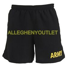 US Military Army APFU PT Shorts Physical Fitness Uniform Black Gold Medium EXC