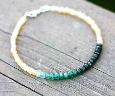 Natural Ethiopian Wello Opal And Natural Emerald Bracelet Solid 14K White Gold