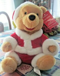 Vintage Winnie The Pooh Walt Disney Wind Up Musical box Plush Christmas Toy