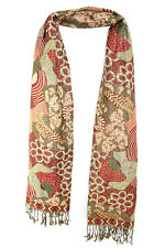 AMAZING GREEN/RED 100% PASHMINA HIGH QUALITY SHAWL LOVELY EXOTIC PRINT (MS10)