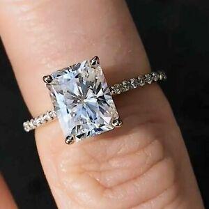 2.90 TCW Radiant Round Cut Diamond Wedding Engagement Ring 14K White Gold Finish