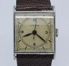 VINTAGE c.1940's Eterna Square Mens Stainless Steel Manual Watch = Great Dial =