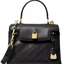 New Michael Kors Gramercy chain embossed leather satchel black gold Bag