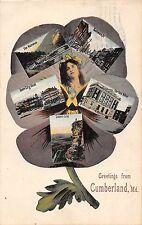 A75/ Cumberland Maryland Md Postcard 1910 Fantasy Flower Woman 5View Hotel