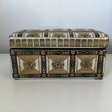 Decorative Gold White & Black Hand Painted Ceramic Rectangular Box #908