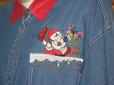 Nut Cracker Embroidered Blue Cotton Long Sleeve Shirt Christmas Size XL #CL159