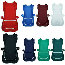 LADIES TABARD APRON KITCHEN OVERALL CATERING TABBARD CLEANING BAR POCKET PLUS