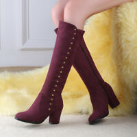 Womens Zip Block High Heel Faux Suede Knee High Boots Party Shoes UK Size 1-12