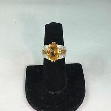 7.15 CTW Genuine Citrine & .13 CTW Diamonds 10KT Yellow Gold  Ring Size 7 NEW