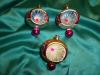 ~ 3 alte Christbaumkugeln Glas Reflexkugeln pink rot grün Weihnachtskugeln antik