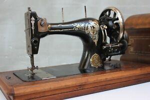Antique Hand Cranked Sewing Machine, German BERNHARD STOEWER Sewing Machine