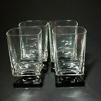 4 (Four) VINTAGE DI SARONNO CLEAR & BLACK Square Foot Cocktail Glasses-No Text