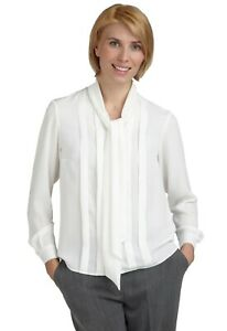 Cream Tie Neck Blouse /  Long Sleeves / Front Pleats / Neck Bow Tie