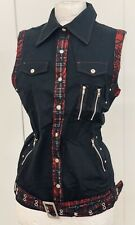 SDL Black Woman's Top With Tartan Trim And Zips .