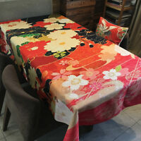 Japanese Style Floral Dinning Tablecloth Cotton&Linen Table Cover Rectangular